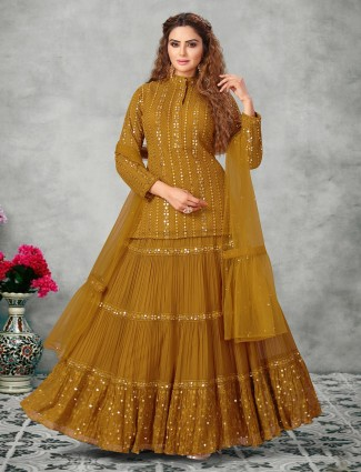 Mustard georgette lehenga style suit for party functions