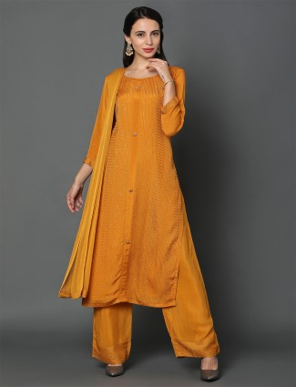 Mustard georgette palazzo suit for festives