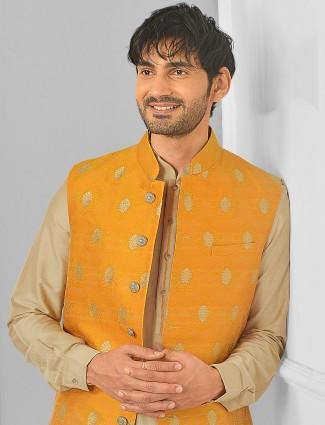Mustard hue wedding wear waistcoat set for festive sessions