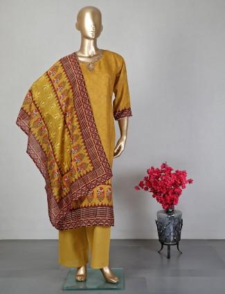 Mustard printed pant style salwar suit