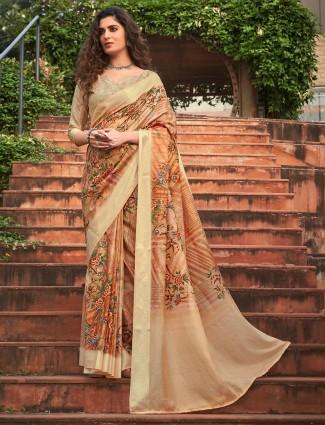 Beige soft silk printed festive wear sari