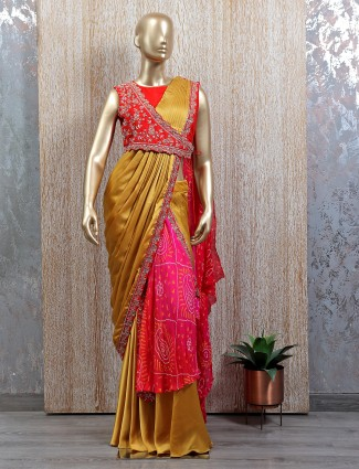 Mustard tint double layer ready to wear saree with readymade blouse