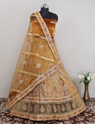 Mustard wedding sessions unstitched velvet lehenga choli