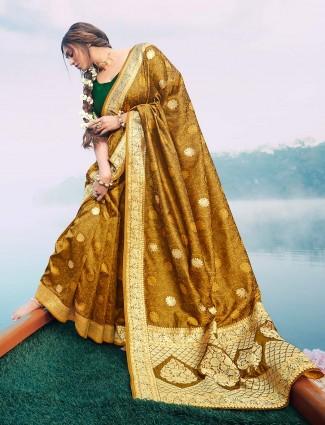 Mustard yellow banarasi silk saree for wedding