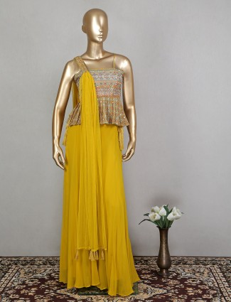 Mustard yellow charming georgette wedding functions palazzo suit