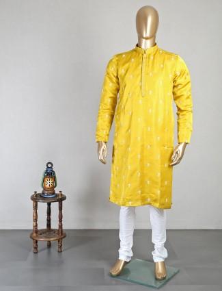 Mustard yellow chiakn thread weaving work kurta suit