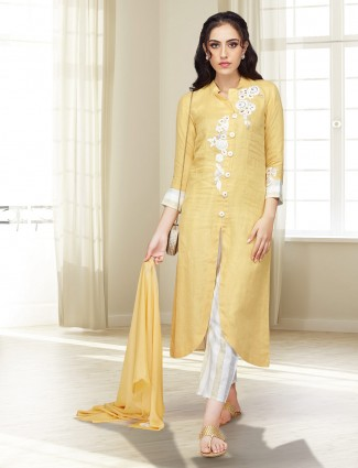 Mustard yellow cotton fabric festive punjabi salwar suit