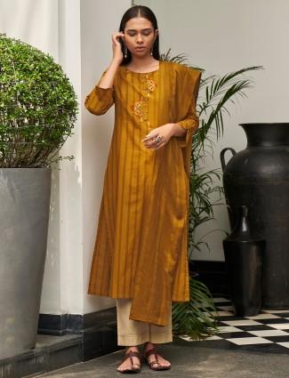 Mustard yellow cotton festive ceremonies punjabi style pant suit