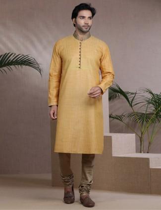 Mustard yellow cotton silk festive wear kurta suit