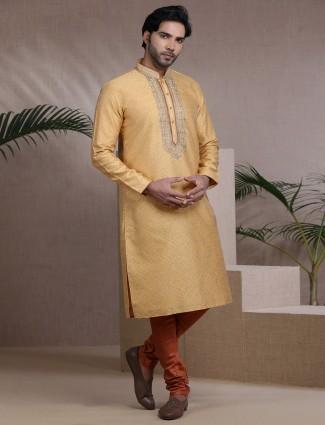 Mustard yellow cotton silk mens kurta pajama