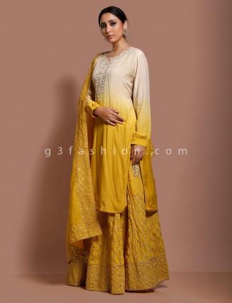 Mustard yellow cotton silk party punjabi sharara suit