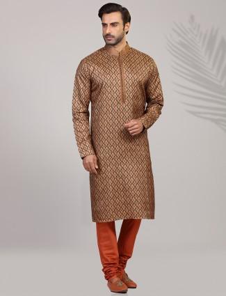 Mustard yellow cotton silk stand collar kurta suit
