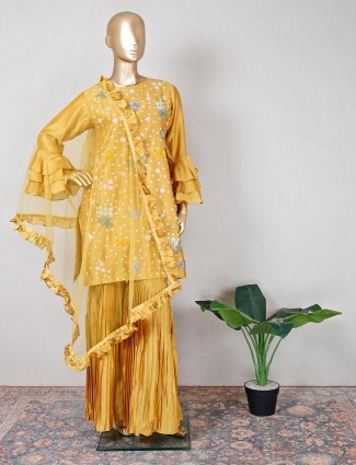 Gold colored festive occasions sharara suit