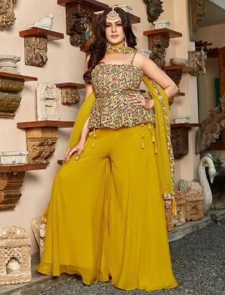 Mustard yellow georgette wedding occasions punjabi style palazzo suit