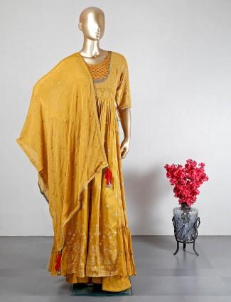 Mustard yellow georgette wedding wear palazzo suit