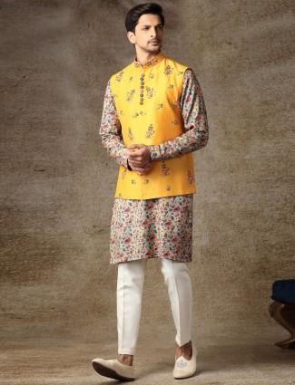 Mustard yellow mens silk waistcoat set for haldi occasion