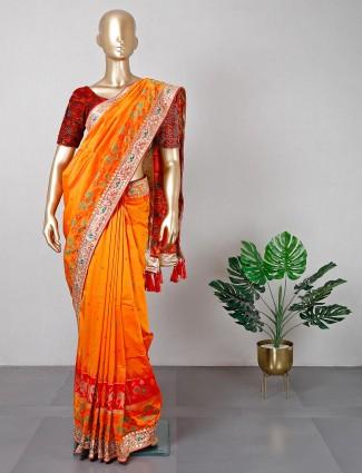 Orange and red patola silk wedding wear saree