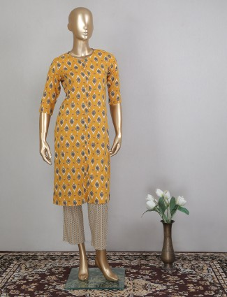 Mustard yellow printed cotton festive wear pant suit
