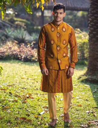 Mustard yellow printed mens waistcoat set in cotton silk