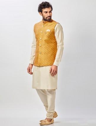 Mustard yellow raw silk mens waistcoat set