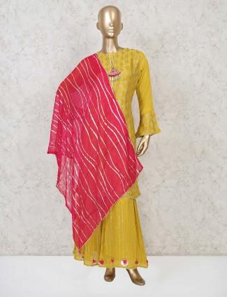 Mustard yellow raw silk punjabi sharara suit
