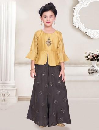 Mustard yellow raw silk sharara suit for girls