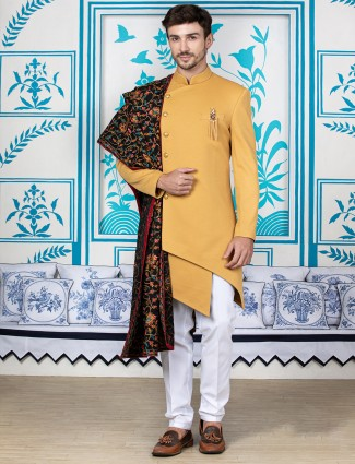Mustard yellow silk indo western for mens