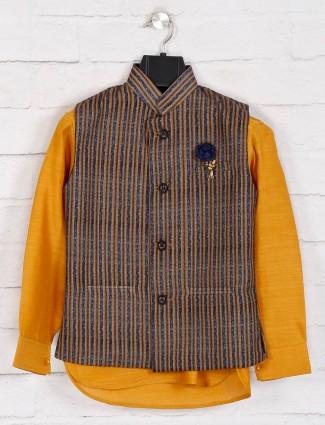 Mustard yellow stripe cotton waistcoat set