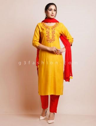Mustard yellow threadwork festive suit