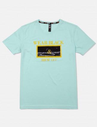 Mymera printed sea green cotton t-shirt