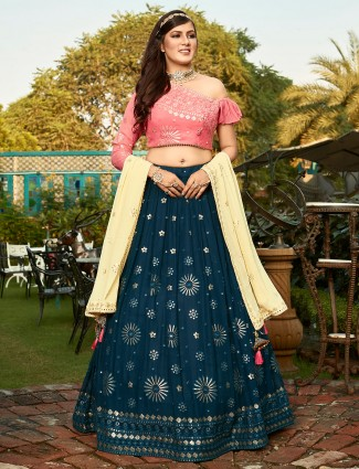 Navy and coral pink georgette wedding occasions lehenga choli