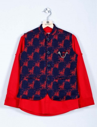 Navy and red cotton printed boys waistcoat