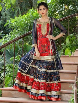 Navy and red cotton punjabi jacket style wedding events sharara set