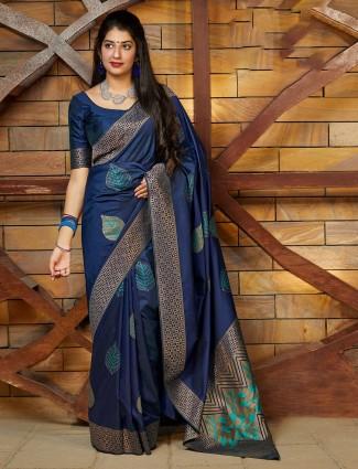 Navy banarasi silk saree for festive get together