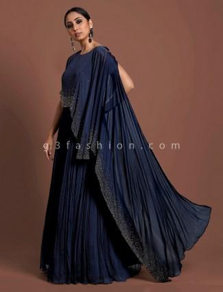 Navy blue cape style crush chiffon indo western salwar suit