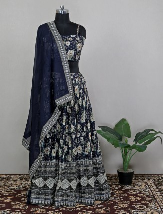 Navy blue colored floral lehenga choli in georgette fabric