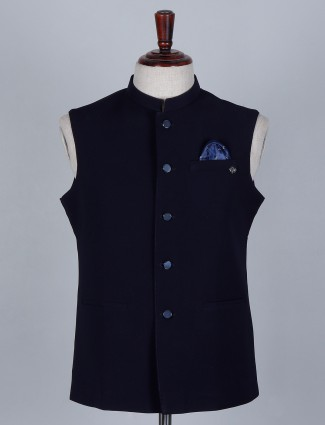 Navy blue colored terry rayon waistcoat