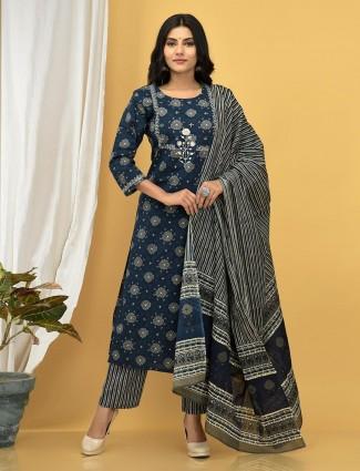 Navy blue cotton printed festive wear pant suit for women