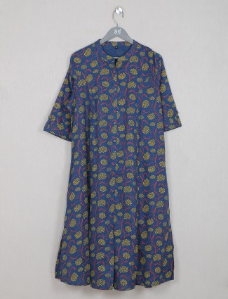 Navy blue cotton printed kurti for casual day out
