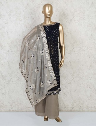 Navy blue designer kurti and palazzo pant set for party