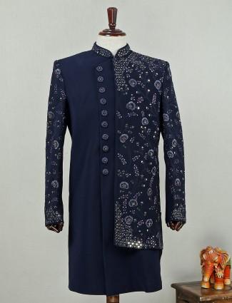 Navy blue Indo western sherwani in silk
