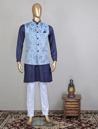 Navy blue printed silk party wear stand collar waistcoat set