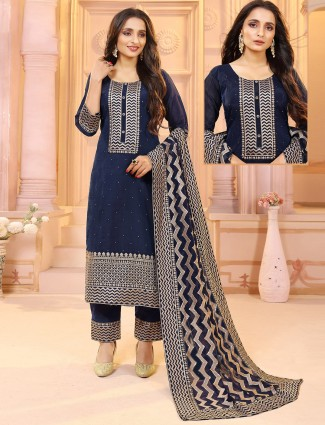 Navy blue raw silk punjabi style wedding events pant suit