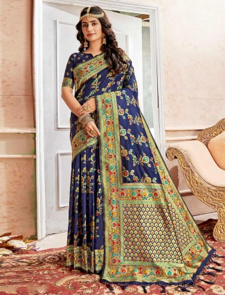 Navy blue saree in banarasi silk fabric