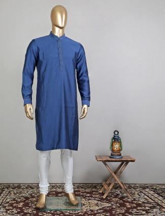Navy blue solid cotton festive wear mens kurta suit
