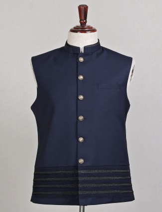 Navy blue terry rayon party wear waistcoat for mens