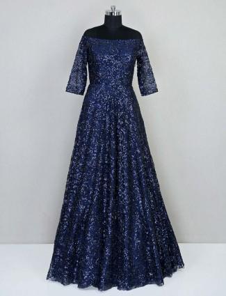 Navy blue wedding wear net gown