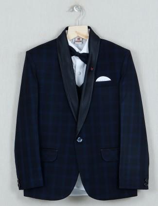 Navy check cotton tuxedo coat suit