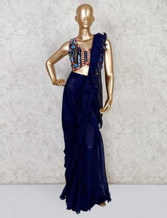 Navy colored georgette designer ready to wear saree
