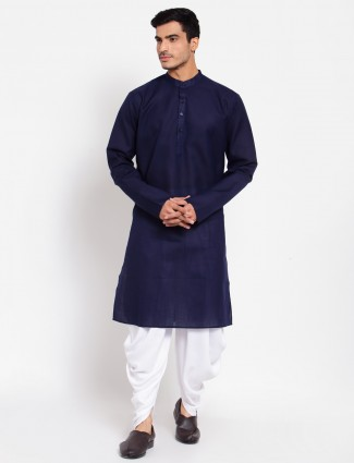 Navy cotton kurta suit for men in solid style